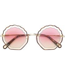 chloé eyewear tally seashell-frame sunglasses - neutrals