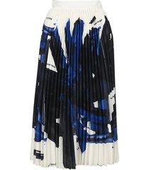 off white brushstroke plisse skirt