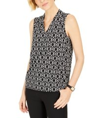 kasper petite diamond-print sleeveless top
