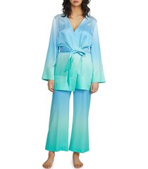 badgley mischka women's degrade silk mini robe - size l