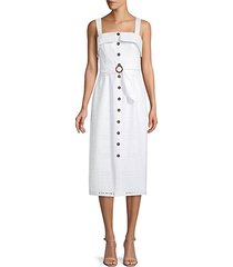 albi belted eyelet midi dress