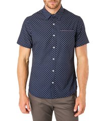 7 diamonds another dimension slim fit short sleeve button-up shirt, size xx-large in navy at nordstrom