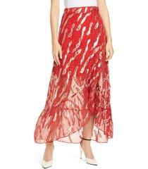 women's ba & sh hada metallic print silk skirt