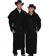 western express black denim duster coat men/women size lg, xlg, 2xlg