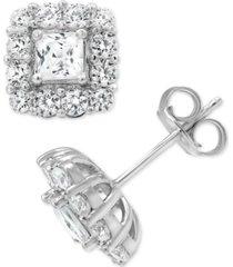 marchesa certified diamond princess halo stud earrings (2 ct. t.w.) in 18k gold