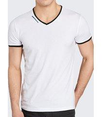 maglietta casual a maniche corte slim fit con scollo a v in cotone tinta unita traspirante