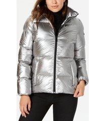bcbgeneration hooded metallic puffer coat