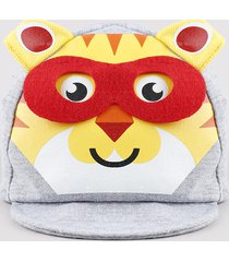 boné infantil fisher price aba reta com estampa interativa de tigre cinza mescla