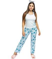 pijama pantalón dama color azul aguamarina womanpotsherd ref: pant