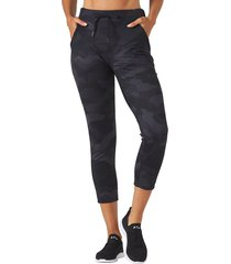 glyder women's jet set crop jogger pants - black camo print - large spandex