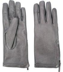 fabiana filippi textured side zip gloves - grey