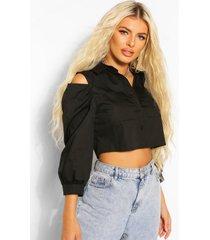 katoenen poplin blouse met zakken en uitgesneden schouders, black
