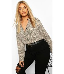 plus smudge print collarless shirt, beige