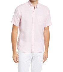 men's peter millar crown cool sardinia short sleeve button-down shirt, size xx-large - pink