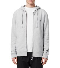 allsaints raven slim fit zip hoodie, size medium in grey marl at nordstrom