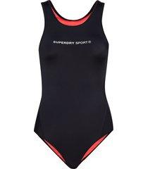 active swimsuit baddräkt badkläder svart superdry sport