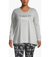 lane bryant women's active sparkle and shine glitter graphic tee 26/28 heather gray