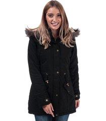 brave soul womens allure padded parka jacket size 14 in black