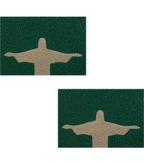 2 tapetes capacho decorativo 60x1,2m riode janeiro - verde - feminino - dafiti