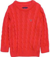 cotton cable crew pullover oranje gant