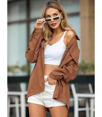 yoins blusa de pana classic con cuello y botones al frente