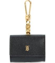 burberry tb monogram leather airpod pro bag charm - black