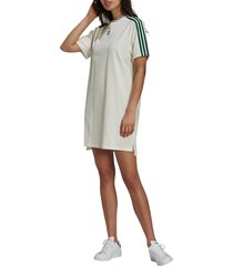 women's adidas originals 3-stripes t-shirt dress, size x-large - ivory