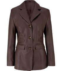 blazer lungo in similpelle (marrone) - bpc bonprix collection