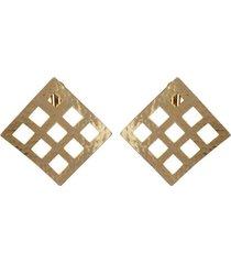 natori gold platedss grid pendant clip earrings, women's natori