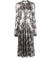 high neck floral lurex midi dress