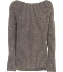 gentry ribbed sweater boat neck w/paillettes