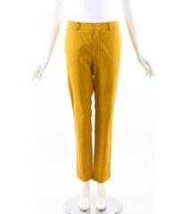 gucci yellow wool silk straight leg pants yellow sz: s