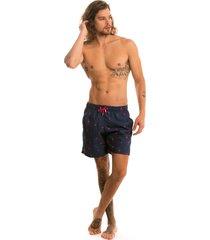 shorts praia tactel estampado lavíbora - pink flamingo azul