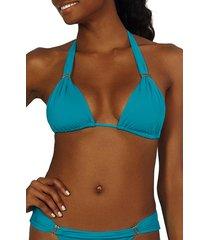 women's vix swimwear bia solid bikini top, size small - blue