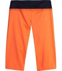 leggings deportivo corto con pretina color naranja, talla xl