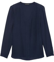 blusa high low pieced vee solids azul banana republic