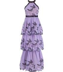halter neck lace trim tier gown