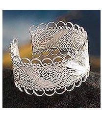 silver filigree cuff bracelet, 'royalty' (peru)
