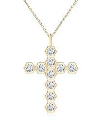 natori indochine diamond cross pendant necklace, women's, gold natori