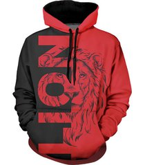contrast lion graphic front pocket casual hoodie