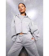 korte oversized hoodie met rits en tekst, grey marl