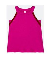 blusa regata com alça fina e detalhe contrastante na cava   marfinno   rosa   m