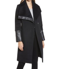 women's via spiga wool and faux leather coat, size 4 - black