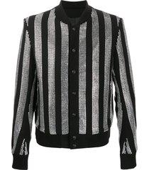 balmain rhinestone-embellished striped jacket - black