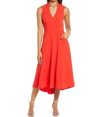 women's eliza j high/low fit & flare dress, size 18 - red