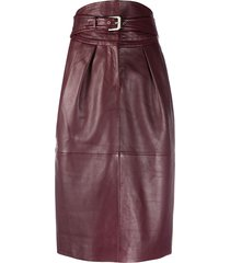 alberta ferretti high-waisted buckled skirt - red