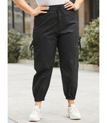 yoins pantalones de diseño de corbata con diseño de bolsillo con cordón de talla grande