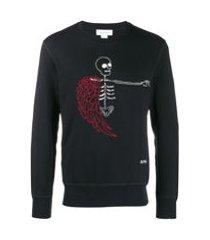 alexander mcqueen camiseta skull metálica - preto