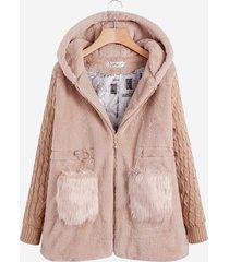 cappotto con cappuccio casual a maniche lunghe in maglia a maniche lunghe patchwork in maglia