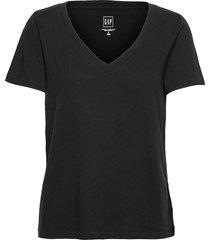100% organic cotton vintage v-neck t-shirt t-shirts & tops short-sleeved svart gap